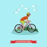 Vector l'illustrazione del mountain bike di guida del ragazzo nello stile piano Fotografia Stock