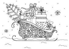 Vector l'illustrazione del Natale, slitta del ` s di Santa in pieno dei presente illustrazione di stock
