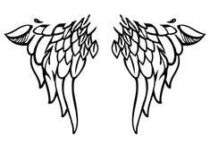 Ali di stile di corpo-arte o del tatuaggio su bianco. Vettore Fotografia Stock Libera da Diritti