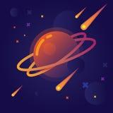 Vector l'illustrazione del pianeta luminoso nello spazio intorno alla cometa ed alle stelle illustrazione di stock