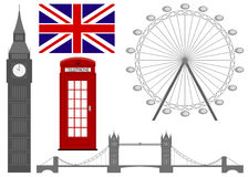 Vector l'illustrazione del simbolo di Londra, icone Immagini Stock