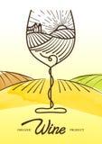Vector l'illustrazione dell'acquerello dell'uva della vite e del campo rurale in vetro di vino Concetto per i prodotti biologici,
