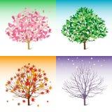 Vector l'illustrazione dell'albero, la sorgente, l'estate, l'inverno, Fotografie Stock