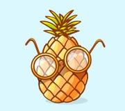 Vector l'illustrazione dell'ananas variopinto del nerd con i vetri sulla b Fotografia Stock Libera da Diritti
