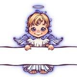 Vector l'illustrazione dell'angelo sveglio con il pannello per Fotografia Stock