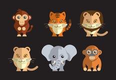 Vector l'illustrazione dell'animali selvatici esotici svegli su un fondo scuro Fotografia Stock Libera da Diritti
