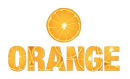 Testo arancio fatto dalle fette di agrume Immagini Stock