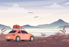 Vector l'illustrazione dell'automobile con le borse di viaggio vicino al lago ed alle montagne Viaggio stradale, concetto di vaca illustrazione vettoriale