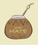 Vector l'illustrazione dell'erba mate, zucca a fiaschetta con Bombilla Fotografie Stock Libere da Diritti