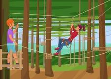 Vector l'illustrazione dell'escursione di formazione della gente sulle corde fra gli alberi Parco della corda illustrazione di stock