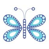 Vector l'illustrazione dell'insetto, farfalla blu, sui precedenti bianchi Fotografia Stock