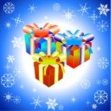 Vector l'illustrazione dell'insieme dei contenitori di regalo variopinti Fotografia Stock