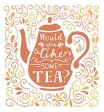 Vector l'illustrazione dell'iscrizione con tè nei colori del paster royalty illustrazione gratis