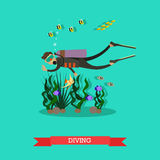 Vector l'illustrazione dell'operatore subacqueo che nuota underwater nello stile piano Immagini Stock