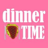 Vector l'illustrazione dell'ora di cena con bistecca, il coltello e la forcella fritti su fondo rosa royalty illustrazione gratis