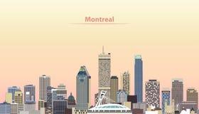 Vector l'illustrazione dell'orizzonte della città di Montreal all'alba illustrazione di stock
