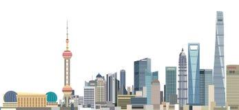 Vector l'illustrazione dell'orizzonte della città di Shanghai all'alba illustrazione di stock