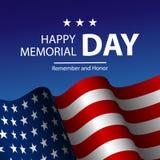 Vector l'illustrazione della bandiera degli Stati Uniti d'America e del testo realistici Memorial Day illustrazione vettoriale