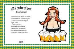 Vector l'illustrazione della cameriera di bar con le tazze della birra Fotografia Stock