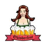 Vector l'illustrazione della cameriera di bar con le tazze della birra Logo di Oktoberfest, autoadesivo Illustrazione isolata vet Immagine Stock Libera da Diritti