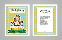 Vector l'illustrazione della cameriera di bar con le tazze della birra Per l'insegna, il libretto o l'aletta di filatoio Modello  Fotografia Stock Libera da Diritti