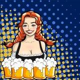 Vector l'illustrazione della cameriera di bar con le tazze della birra stile di Pop art Fotografie Stock