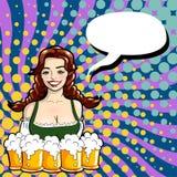 Vector l'illustrazione della cameriera di bar con le tazze della birra stile di Pop art Immagini Stock