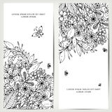 Vector l'illustrazione della carta con le insegne floreali Zen Tangle, scarabocchiante illustrazione vettoriale