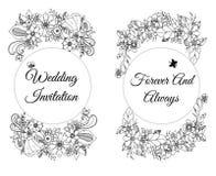 Vector l'illustrazione della carta con le insegne floreali Zen Tangle, scarabocchiante illustrazione di stock