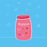 Vector l'illustrazione della carta felice del giorno del ` s del biglietto di S. Valentino Barattolo o bottiglia disegnato a mano Fotografia Stock