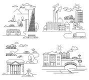 Vector l'illustrazione della città nello stile lineare - costruzioni e nuvole - modello di progettazione grafica Immagine Stock