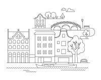 Vector l'illustrazione della città nello stile lineare - costruzioni e nuvole - modello di progettazione grafica Libro di colorit Fotografia Stock Libera da Diritti