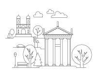 Vector l'illustrazione della città nello stile lineare - costruzioni e nuvole - modello di progettazione grafica Libro di colorit Immagine Stock
