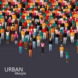 Vector l'illustrazione della comunità maschio con una folla dei tipi e degli uomini concetto urbano di stile di vita Fotografie Stock