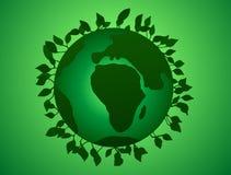 Vector l'illustrazione della giornata per la Terra, pianeta verde con le foglie Immagini Stock