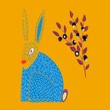 Vector l'illustrazione della lepre e del mirtillo disegnati a mano svegli illustrazione vettoriale