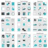 Vector l'illustrazione della linea icone per le sfere sociali differenti Fotografia Stock Libera da Diritti