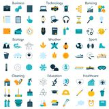 Vector l'illustrazione della linea icone per le sfere sociali differenti Fotografie Stock