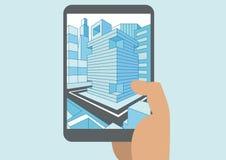 Vector l'illustrazione della mano che tiene la compressa o lo Smart Phone moderna con la vista 3D di una città visualizzata sul t Fotografie Stock Libere da Diritti