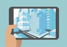 Vector l'illustrazione della mano che tiene la compressa o lo Smart Phone moderna con la vista 3D di una città visualizzata sul t Illustrazione Vettoriale