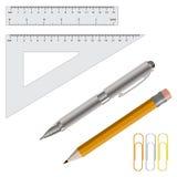 Vector l'illustrazione della matita, della penna e dei righelli Fotografia Stock Libera da Diritti