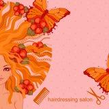 Vector l'illustrazione della ragazza con i fiori e le farfalle Immagini Stock