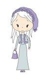 Vector l'illustrazione della ragazza lunga dei capelli di modo con il vestito Immagine Stock