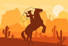 Vector l'illustrazione della siluetta del cavallo selvaggio di cattura del cowboy al tramonto con il bello deserto ad ovest selva illustrazione di stock