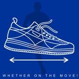 Vector l'illustrazione della siluetta di un atleta e delle scarpe da tennis Fotografia Stock Libera da Diritti