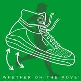 Vector l'illustrazione della siluetta di un atleta e delle scarpe da tennis Fotografia Stock