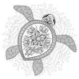 Vector l'illustrazione della tartaruga di mare per le pagine del libro da colorare illustrazione di stock