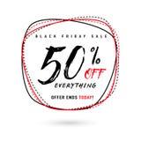 Vector l'illustrazione della vendita di Black Friday con lo sconto 50 Fotografie Stock Libere da Diritti