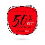 Vector l'illustrazione della vendita di Black Friday con lo sconto 50 Fotografia Stock Libera da Diritti
