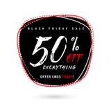 Vector l'illustrazione della vendita di Black Friday con lo sconto 50 Immagini Stock
